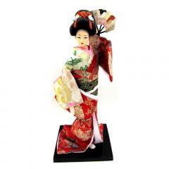 Boneca Japonesa Gueixa Artesanal com Kimono Vermelho Creme e Leque