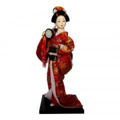 Boneca Japonesa Gueixa Artesanal com Kimono Vermelho e Taiko 2