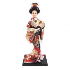 Boneca Japonesa Gueixa Artesanal com Kimono Vermelho Floral e Leque