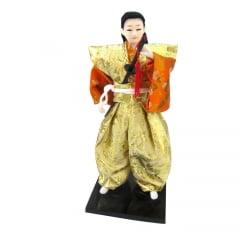 Boneco Japonês Samurai com Com Kimono Laranja, Dourado - 30 cm