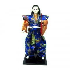 Boneco Japonês Samurai com Com Kimono Laranja e Azul com detalhes Florais 2 - 30 cm