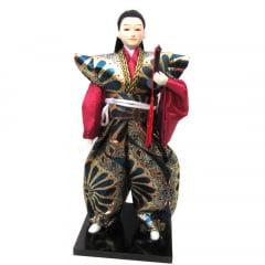 Boneco Japonês Samurai com Com Kimono Verde, Dourado com detalhes Florais - 30 cm