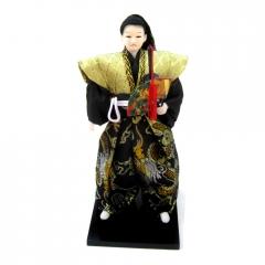 Boneco Japonês Samurai com Kimono Preto e Dourado e com Espada e Leque Oriental Colorido - 30 cm