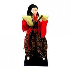 Boneco Japonês Samurai com Kimono Preto, Vermelho e Dourado com detalhes Flores - 30 cm