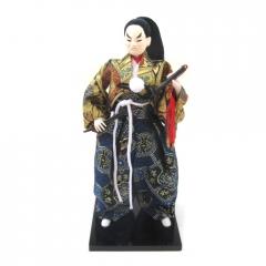 Boneco Japonês Samurai Invocado com Kimono Azul, Dourado e Espada Oriental - 30 cm
