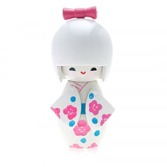 Boneca Japonesa Kokeshi  Branca (11cm) - KMBS