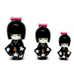 Trio Boneca Japonesa Preta - TKPM