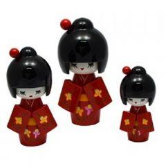 Trio de Boneca Japonesa Kokeshi Vermelha - Detalhes Florais