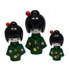 Trio de Boneca Japonesa Kokeshi Verde Escuro - Detalhes Florais