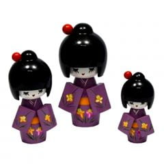 Trio de Boneca Japonesa Kokeshi Roxa - Detalhes Florais