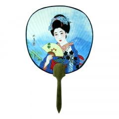 Leque Oriental Tradicional Papel Gueixa Ventarola 23cm x 36cm  - Azul