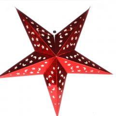 Luminária Metalizada Estrela Vermelha - 90 cm