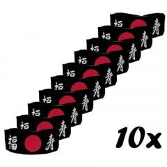 Faixa Japonesa Hachimaki para Sushiman Fukuju Felicidade e Longevidade - Preta - 10 Unidades