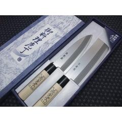 Kit Facas Japonesa  Nakiri (Vegetais) e Santoku (Multiuso) - Shimomura