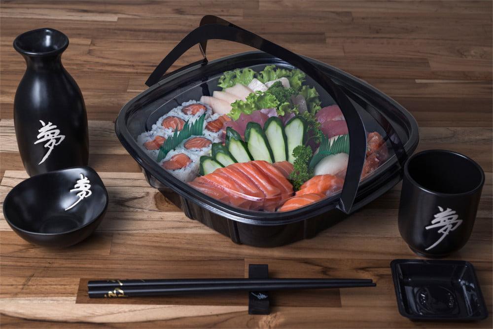 Embalagem Descartável Combinado 05 para Comida Japonesa - Sushi Today 50 unidades