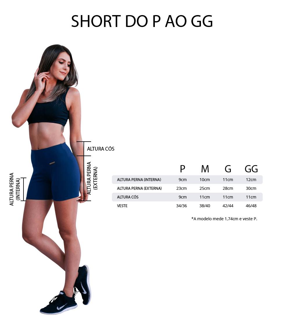 KIT 3 Short academia feminino tamanhos e medidas