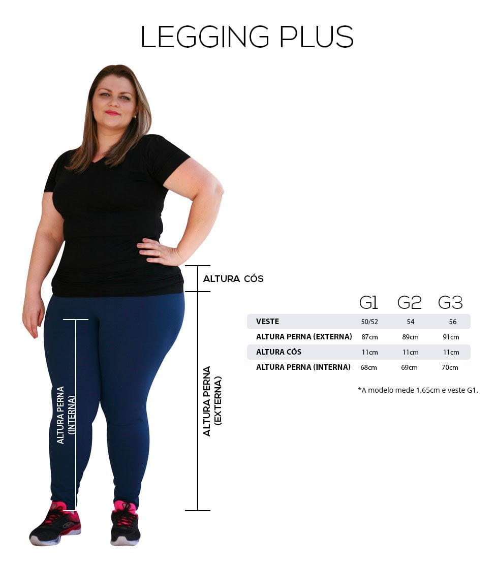 Legging preta mulheres altas tamanhos e medidas plus size