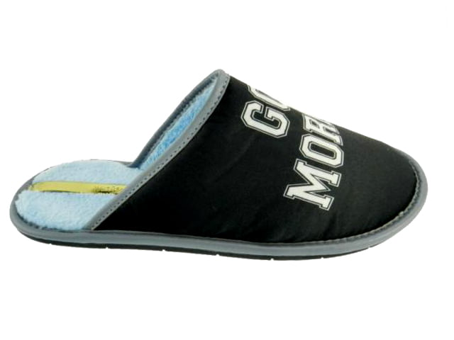 Chinelo Pantufa Moleca | Good Morning e Good Night | Preto e Azul