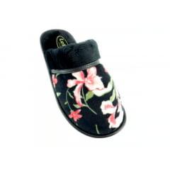 Chinelo de Pano Feminino | Floral Preto