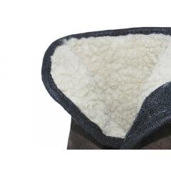 Pantufa Botinha Com Forro de Lã | Marrom