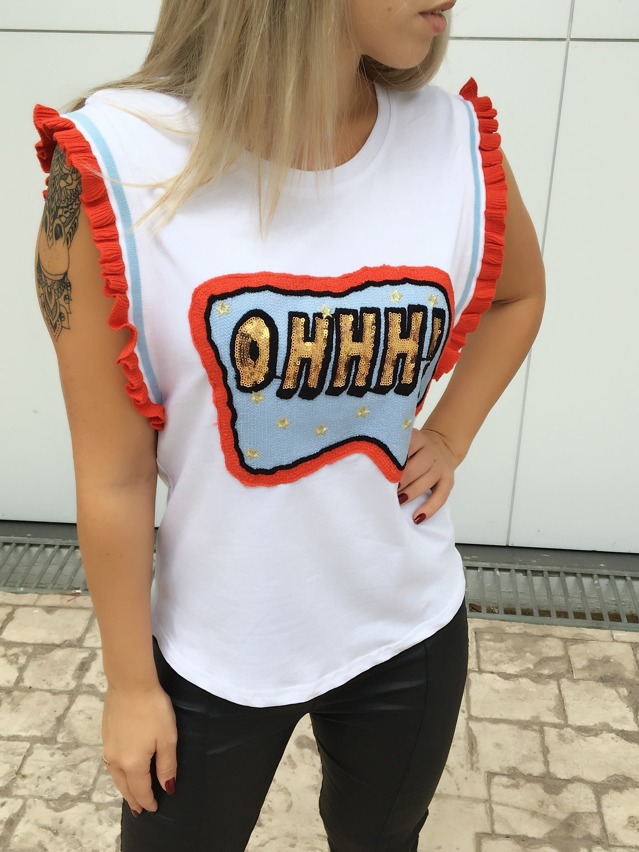 be35137c5 T-Shirt Feminina Bordada Branca Ohhh