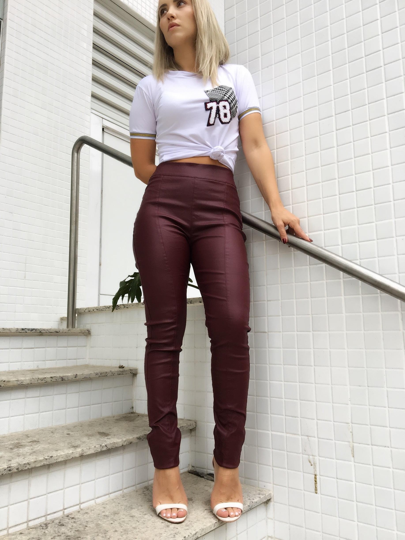 Calça Skinny Feminina Cintura Alta Marsala