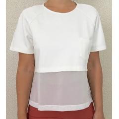 Camisa Manga Curta Feminina com Transparência