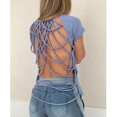 T-Shirt Feminina Azul com Tiras