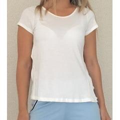 T-shirt Feminina Branca com Tiras