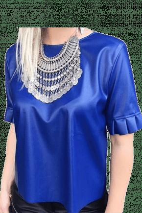 Camisa Manga Curta Feminina com Babado