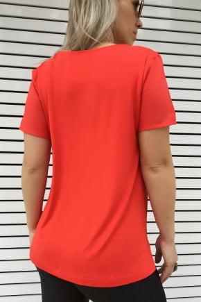 T-Shirt Bordada Vermelha Cactos