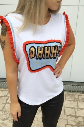 T-Shirt Feminina Bordada Branca Ohhh