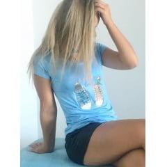 T-Shirt Feminina Estampada Azul