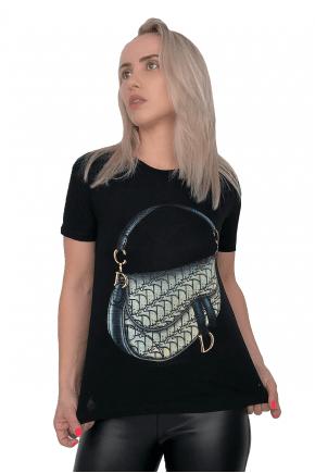 T-Shirt Feminina Preta Handbag