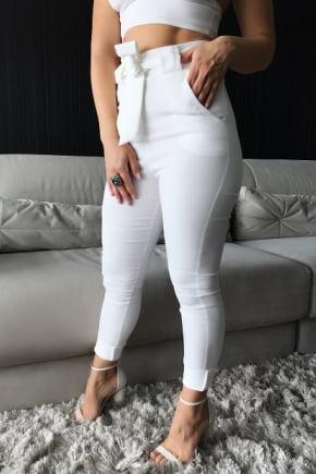 Calça Clochard Branca Crepe