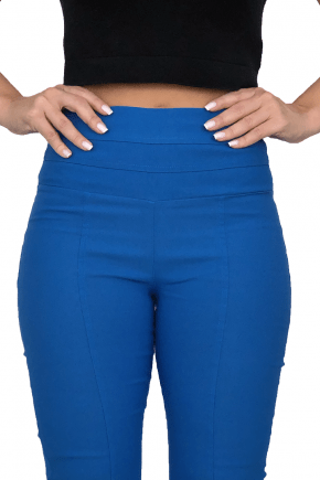 Calça Flare Cintura Alta Bengaline Azul
