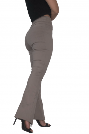 Calça Flare Cintura Alta Bengaline Argila