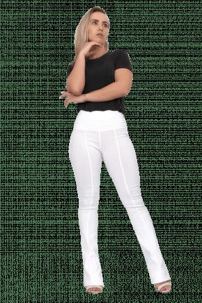 Calça Flare Cintura Alta Bengaline Branca
