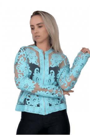 Jaqueta Bomber Feminina Azul Turquesa