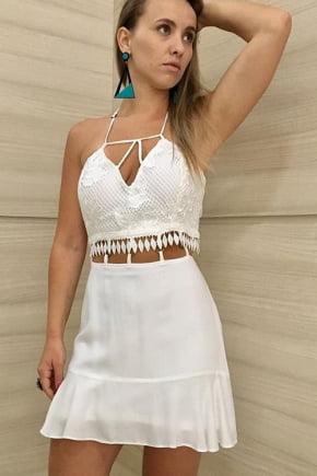Vestido Branco com Renda Guipir
