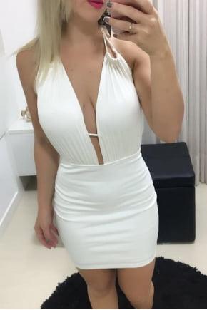 Vestido de Festa Decotado Off