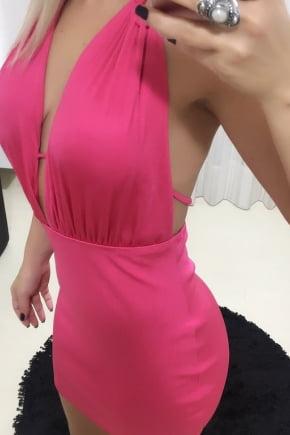 Vestido de Festa Decotado Pink