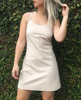 Vestido Tubinho de Alça Nude