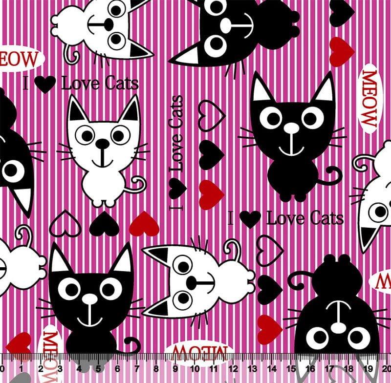 Gatos Desenho 3056 var01 - Pink