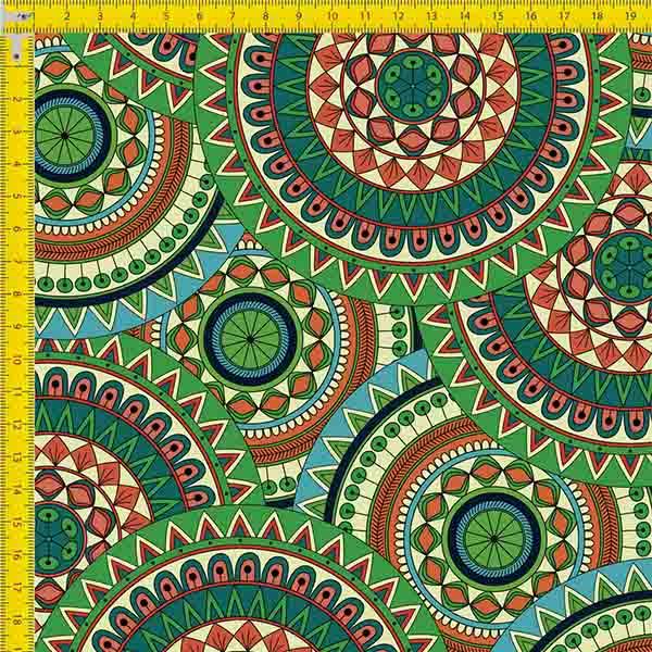 Tecido Tricoline Estampado Digital Mandalas Coloridas 9100e748