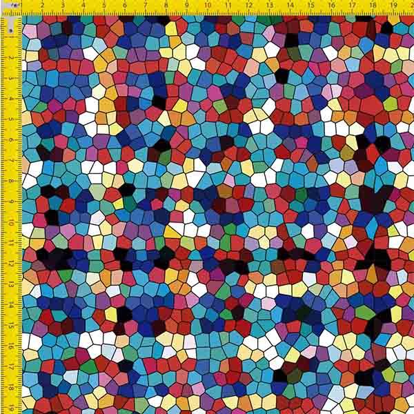 Tecido Tricoline Estampado Digital Mosaico Colorido 9100e834