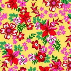 Tecido Chitão Estampado 100% algodão Floral Vermelho Fundo Amarelo 2604v2