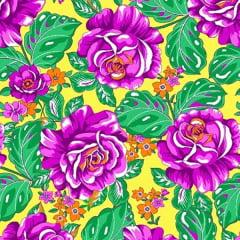 Tecido Chitão Estampado Floral Rosa Fundo Amarelo 2611V1