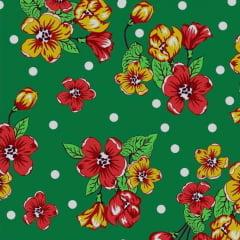 Tecido Chitão Estampado Floral Vermelho Fundo Verde Bolinha Branca 2600v2