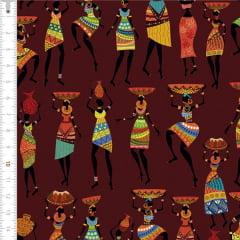 Tecido Tricoline Digital Africano Fundo Marrom 9100e1617
